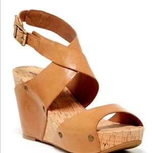 Lucky Brand Leather Cork Wedge Strap Sandals, 8.5